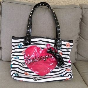 Betseyville Striped Lipstick Print Tote Bag